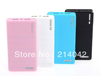 Wholesale External Battery backup Charger Portable Dual USB 20000mah Power Bank with retail box for mobile phone free shipping