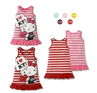 QZ-311 Free shipping 2014 new cartoon striped vest kids dress girl princess dress KT baby girls cloth wholesale and retail