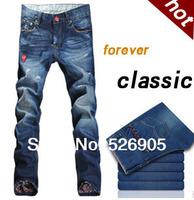 Factory Supply 2014 Newly Men's Fashion Designer Jeans Famous Brand Cotton Denim Blue Pants Korean Style Ripped Jeans for Men