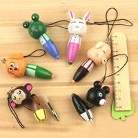 HOT SALE  20 Pieces / Lot   Wooden Cartoon Animals Ballpoint Pen, Creative Cartoon Mobile Chain Ballpoint Pen,Free Shipping