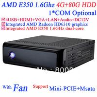 Wholesale htpc mini itx computer with Fan AMD E350 1.6GHz dual core AMD Radeon HD6310 graphics HDMI VGA 12V DC 4G RAM 80G HDD