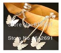Fasshion tassel clip on earrings 2015 girls butterfly ear cuffs personality silver earring for women jewelry wholesale LM-C102