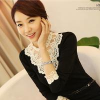 Spring Autumn Women Beading Lace Stand Collar Basic Shirt Slim Long-sleeve T-shirt Plus Size Blouse