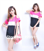 2014 Korean New Summer Hit Color Striped Strapless cotton loose short-sleeved T-shirt Women 134