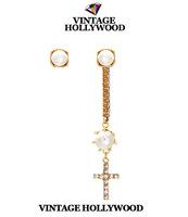 Women's Earrings Vintage Hollywood Pearl Tassel Cross Asymmetrical Earrings Stud Earring High Quality Female Accessories