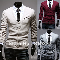 2014 Spring and Autumn New Arrival Men's Handsome Yarn Cardigan Long Sleeve Solid Sweater V-neck Casual Basic Tops Shirt