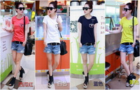 Fashion vintage   letter roll sleeve loose short-sleeve T-shirt shirt female