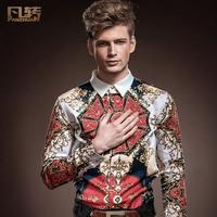 Royal men's clothing 2014 spring male slim long-sleeve shirt slim male slim flower shirt 14222