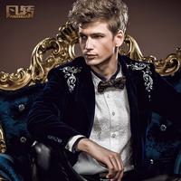 Royal men's clothing 2014 spring new arrival male suit embroidery male formal dress slim fit velvet blazer 14002