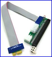 PCI-E 16X to 1X Adapter Riser Cable Flex Flexible Extension Cable w/ Molex 4 Pin & Graphics Card PCI-E 6 Pin Power Connector