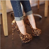 Sexy leopard print single shoes thin heels high-heeled shoes platform Mary Janes