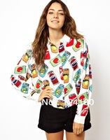 new 2014 spring  European and American women's lapel cans printed long-sleeved blouse wild bat shirt