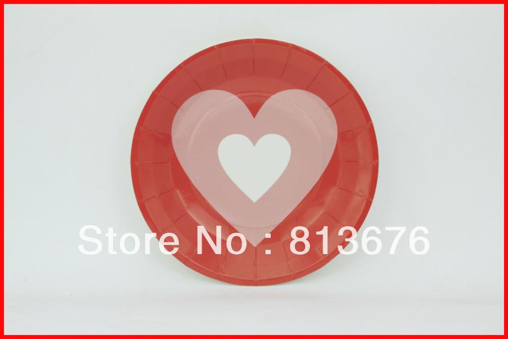 Free shipping birthday express kids plates heart theme plates 12 pcs birthday party paper plates(China (Mainland))