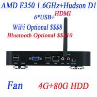 slim pc mini htpc cheap pc with AMD APU E350D 1.6Ghz 4G RAM 80G HDD HDMI VGA 12V DC Watchdog 4-way input output GPIO support