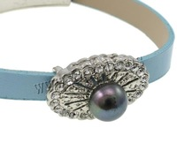 Free shipping!!!Leather Cord Bracelet,Lucky, Brass, with pearl & Leather, platinum color plated, with rhinestone, nickel