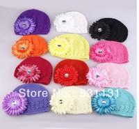 Free Shipping Baby Daisy Flower Crochet Hat 100pcs/lot, Mixed Color