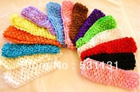 Free Shipping Wholesale 1.5 Inches wide Newborn Infants Crochet Headband 50pcs/lot, Mixed Color
