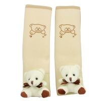 Pair Beige Soft Fleece Panda Style Seat Belt Cover for Auto Car