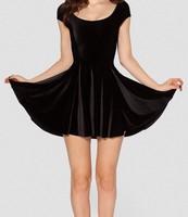 Best Quality 2014 New Women Velvet Deep Blue Evil Cheerleader 2.0 Dress skater summer dress in stock S M L XL Plus Size