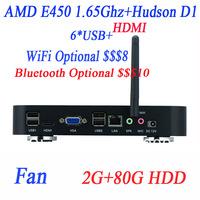 Free shipping cheap pcs with fan AMD E450 1.65GHz dual-core CPU 2G RAM 80G HDD Windows Linux ubuntu AMD Hudson D1 chipset LVDS