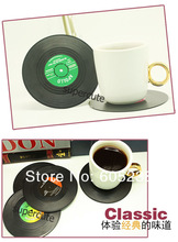 6Pieces/Set Spinning Retro Vinyl Record Drinks Coasters / Vinyl Coaster Cup Mat(China (Mainland))