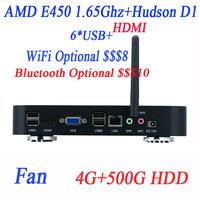 new arrival best mini pc blu ray with LVDS HDMI VGA AMD E450 1.65GHz 4G RAM 500G HDD Windows Linux ubuntu AMD Hudson D1 chipset
