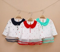 1 PCS NEW girl's t shirt chiffon South Korean style fashion children's t-shirt long sleeve, baby girl clothing, kids wear