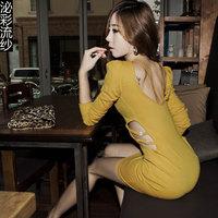 2014 New Club Dress Novelty  Dresses Woman sexy cutout slim hip Club Wear Long Sleeve Evening Dress