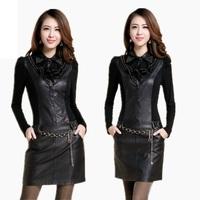 2014 autumn slim PU skirt slim hip long-sleeve one-piece dress women's leather with belt