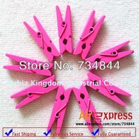 300 x Bright Pink Mini Wood Clothes Peg | Wooden Clip - Tiny Garland Banner Clips | Mini Wooden Pegs |35mm| wedding