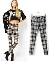 Hot Sale Trendy Women's Spring Autumn Contrast colors Square Plaid Stretch Pencil Pants Ladies Slim Elastic Tight Trousers