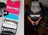 HOT skateboard tide brand THRASHER short sleeve lovers detonation restoring streetstyle swag free shipping