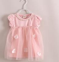 2014 summer korean Girls 2 pieces set: t shirt+sling dress sweet Manual Sew pearl flower 3colors 6sets/lot size 90-140