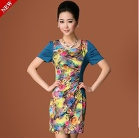 2014 new printed knit slim dress / women clothing fashion elastic one-piece dress spring summer Free shipping