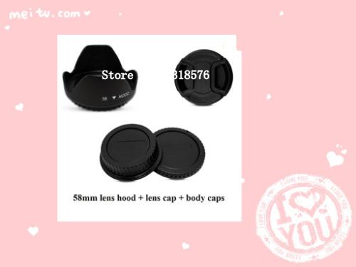 4PCS 52MM Center Pinch Lens Cap + Flower Lens Hood + Camera Body & Rear Lens Cap for Niko D3100 D3200 D5000 D5100 D80 D90 D300(China (Mainland))