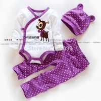 Retail free shipping new spring 100% trigonometric cotton long-sleeve bodysuit pants hat set cute baby girls 3pcs clothing set