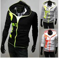 Free Shipping Men's Slim with a Hood Sweatshirt & Hoodies M~XXL Light Gray ,Black ,White
