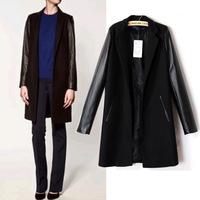2014 new pu leather sleeve woolen coat long coat jacket