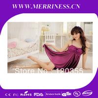 Japan and South Korea women's purple sweet butterfly knot appeal sleepwear nightgown lingerie
