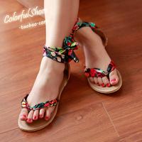 Women's shoes bohemia sandals flip flat heel sandals color block gladiator flat flip-flop plus size 34-43