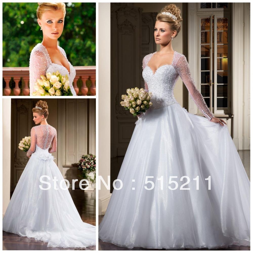 bella bordatura maniche lunghe vedere attraverso principessa indietro palla abiti da sposa abito 2014 nuovo arrivo vestidos de novia