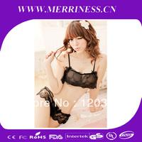 Transparent gauze lace lingerie sexy black bikini clients temptation three point