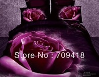 Hot Beautiful 100% Cotton 4pc Doona Duvet QUILT Cover Set bedding set Full / Queen/ King size 4pcs purple opk125