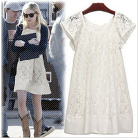 2014  Newest Hot Sale Sweet Fashion Simple thin Cozy Lace Short Sleeve Solid Color Dress Mini Dress Free Shipping Y0017