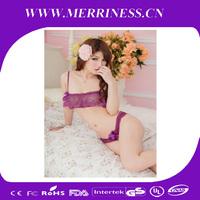Transparent gauze lace purple sexy lingerie open files exposed breast bikini temptation three point