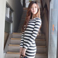 2014 spring knitted stripe slim hip skirt o-neck cotton thread all-match basic shirt long-sleeve dress
