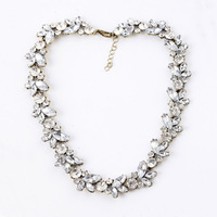 2014 Fashion Jewelry Unique Luxury Vintage Statement Shiny Crystal Flower Chain Choker Necklace For Women