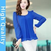 2014 new summer loose T-shirt, bat drilling long sleeve round neck casual chiffon shirt, long tops XXXL plus size women shirt