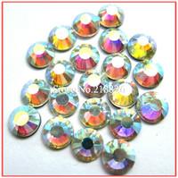 Drop Shipping Best Quality Shiny Hot Fix A+DMC Crystal AB SS30 Iron On Rhinestones Hotfix Transfer Crystals