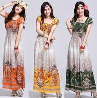 Women summer dress 2104 new fashion casual chiffon short dresses sex print dresses floor length beach dress st009